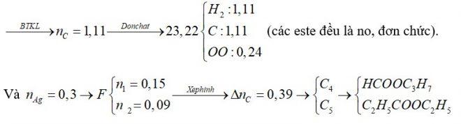Đốt cháy 23,22 gam hỗn hợp E chứa 2 este X, Y (MX<MY) cần dùng 1,425 mol O2, thu được 19,98 gam nước