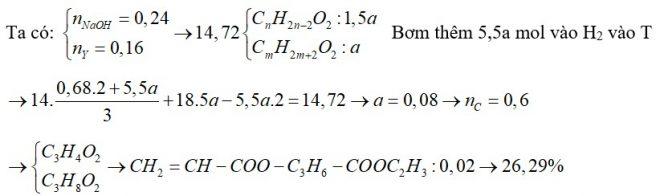 Đun nóng 14,72 gam hỗn hợp T gồm axit X (CnH2n-2O2) và ancol Y (CmH2m+2O2) có mặt H2SO4 đặc làm xúc tác, thu được 14,0 gam hỗn hợp Z