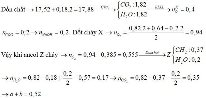 Đốt cháy hoàn toàn 17,52 gam hỗn hợp X chứa bốn este đều đơn chức, mạch hở bằng lượng oxi vừa đủ, thu được 11,52 gam H2O