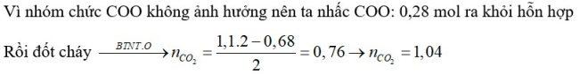 Hỗn hợp X gồm nhiều este, axit hữu cơ, hidrocacbon đều mạch hở. Đốt cháy hoàn toàn m gam X cần vừa đủ 1,1 mol O2