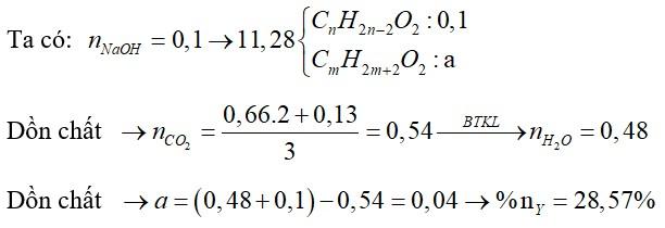 Hỗn hợp E chứa 1 axit cacboxylic, 1 ancol no Y và 1 este Z (X, Y, Z đều đơn chức, mạch hở). Đun nóng 11,28 gam E với 100ml dung dịch NaOH 1M