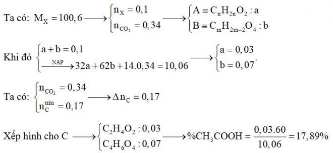 Hỗn hợp X gồm một axit no, đơn chức A và một axit no đa chức B đều có mạch cacbon không phân nhánh. Tỉ khối hơi của X so với hiđro là 50,3