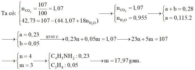 Hỗn hợp X chứa một amin đơn chức, mạch hở (có hai liên kết đôi C=C trong phân tử) và một anken. Đốt cháy hoàn toàn 0,28 mol hỗn hợp X