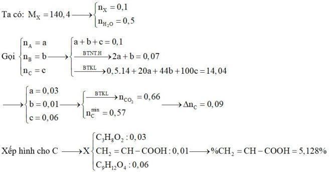 X là hỗn hợp gồm một ancol no, hai chức A, một axit đơn chức B, không no (có một liên kết đôi C=C) và este C thuần chức tạo bởi A và B