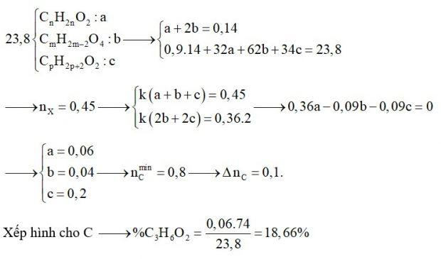 Hỗn hợp X gồm có một axit hai chức, một este đơn chức và một ancol hai chức (tất cả đều no và mạch hở). Đốt cháy hoàn toàn 23,8 gam X thu được 0,9 mol CO2