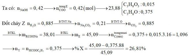Đun nóng hỗn hợp E gồm một chất béo X và một este Y no, đơn chức, mạch hở cần dùng 280 ml dung dịch NaOH 1,5M thu được hỗn hợp Z gồm hai muối