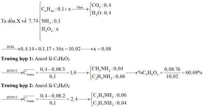 Hỗn hợp X chứa hai amin no, đơn chức, mạch hở thuộc đồng đẳng liên tiếp (Y và Z trong đó MY < MZ và nY < nZ) và một ancol no, hai chức, mạch hở