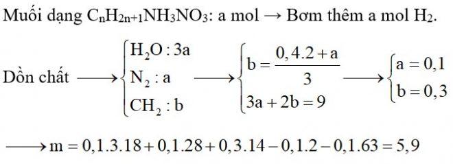 Cho m gam hỗn hợp X chứa ba amin đều thuộc dãy đồng đẳng của metylamin tác dụng với dung dịch HNO3 loãng dư, cô cạn dung dịch sau phản ứng