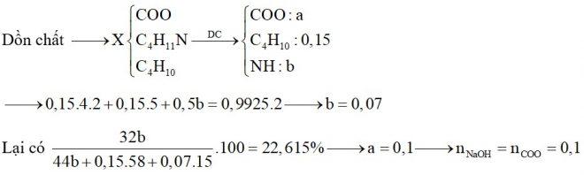Hỗn hợp X chứa butan, đietylamin, etyl propionat và Val. Đốt cháy hoàn toàn 0,15 mol X cần dùng 0,9925 mol O2