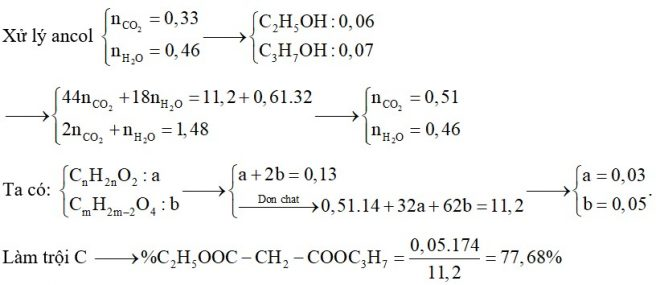 Hỗn hợp E chứa ba este X, Y, Z đều no, mạch hở trong đó (X, Y; ; đơn chức và Z hai chức thuần). Đốt cháy hoàn toàn 11,2 gam E cần vừa đủ