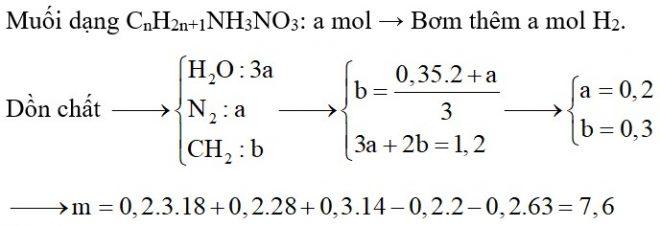 Cho m gam hỗn hợp X chứa metylamin, đimetylamin, trimetylamin tác dụng với dung dịch HNO3 loãng dư, cô cạn dung dịch sau phản ứng