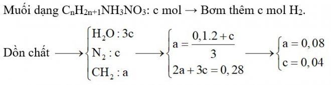 Cho hỗn hợp X chứa ba amin đều thuộc dãy đồng đẳng của metylamin tác dụng với dung dịch HNO3 loãng dư, cô cạn dung dịch sau phản ứng