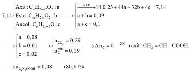 Hỗn hợp X chứa một axit thuộc dãy đồng đẳng của axit acrylic, một este no, đơn chức, hở và một ancol thuộc dãy đồng đẳng của ancol metylic