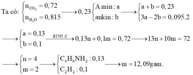 Hỗn hợp X chứa một amin no đơn chức, mạch hở và một ankin. Đốt cháy hoàn toàn 0,23 mol hỗn hợp X, sản phẩm cháy thu được có 31,68 gam CO2