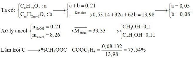 Hỗn hợp E chứa ba este X, Y, Z đều no, mạch hở trong đó (X, Y đơn chức và Z hai chức thuần). Đốt cháy hoàn toàn 13,98 gam E thu được 0,53 mol CO2