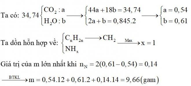 Đốt cháy hoàn toàn m gam hỗn hợp gồm hai amin đơn chức, mạch hở (là đồng đẳng) và hai anken cần vừa đủ 0,845 mol O2