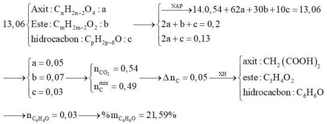 Hỗn hợp X chứa một axit thuộc dãy đồng đẳng của axit oxalic, một este không no có 1 liên kết C=C, đơn chức, hở và một hidrocacbon