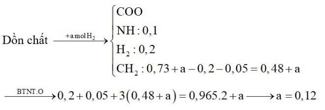Hỗn hợp X gồm alanin, axit glutamic, lysin và metyl acrylat. Đốt cháy hoàn toàn 0,2 mol X cần 0,965 mol O2, thu được hỗn hợp gồm CO2; 0,73 mol H2O