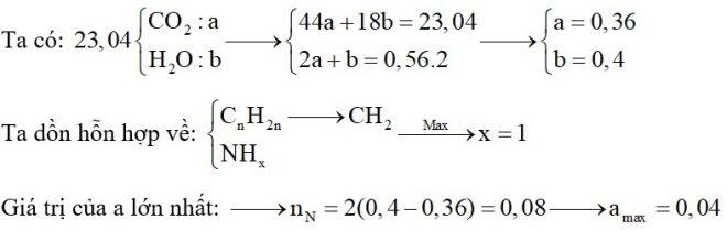 Đốt cháy hoàn toàn m gam hỗn hợp gồm hai amin đơn chức, mạch hở (là đồng đẳng) và hai anken cần vừa đủ 0,56 mol O2