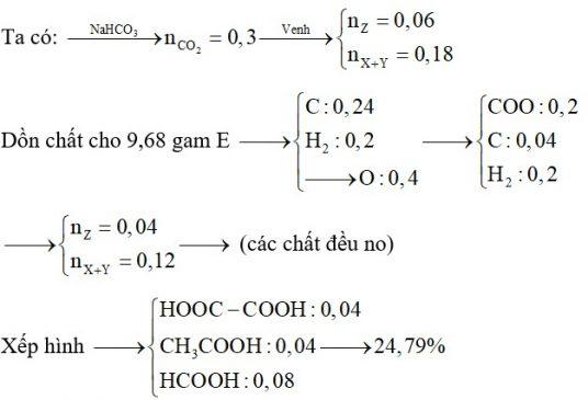 X, Y là hai axit đều đơn chức; Z là axit hai chức (X, Y, Z đều mạch hở, trong đó Y và Z có cùng số nguyên tử cacbon)