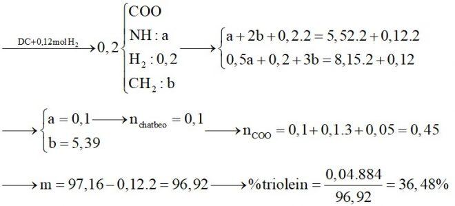 Hỗn hợp X gồm glyxin, alanin và axit glutamic. Hỗn hợp Y gồm tristearin, triolein và tripanmitin. Đốt cháy hoàn toàn 0,2 mol hỗn hợp Z gồm