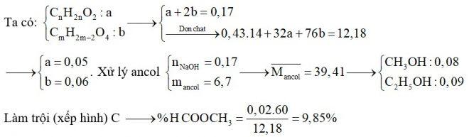 Hỗn hợp E chứa ba este X, Y, Z đều no, mạch hở trong đó (X, Y; ; đơn chức và Z hai chức thuần). Đốt cháy hoàn toàn 12,18 gam E thu được 0,43 mol H2O