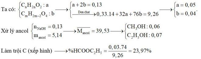 Hỗn hợp E chứa ba este X, Y, Z đều no, mạch hở trong đó (X, Y; ; đơn chức và Z hai chức thuần). Đốt cháy hoàn toàn 9,26 gam E thu được 0,33 mol H2O