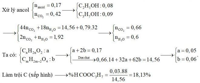 Hỗn hợp E chứa ba este X, Y, Z đều no, mạch hở trong đó (X, Y; ; đơn chức và Z hai chức thuần). Đốt cháy hoàn toàn 14,56 gam E cần vừa đủ 0,79 mol O2