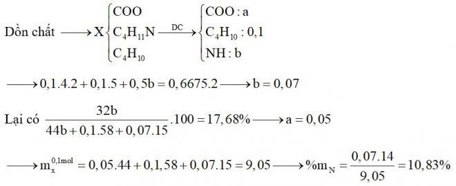Hỗn hợp X chứa butan, đietylamin, etyl propionat và Val. Đốt cháy hoàn toàn 0,1 mol X cần dùng 0,6675 mol O2, thu được CO2, N2 và H2O