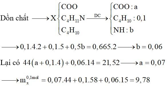 Hỗn hợp X chứa butan, đietylamin, etyl propionat và Val. Đốt cháy hoàn toàn 0,1 mol X cần dùng 0,665 mol O2, sản phẩm cháy thu được gồm CO2, N2 và H2O