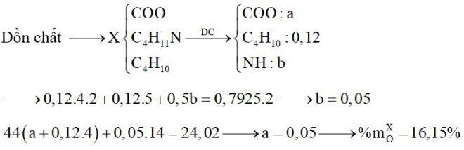 Hỗn hợp X chứa butan, đietylamin, etyl propionat và Val. Đốt cháy hoàn toàn 0,12 mol X cần dùng 0,7925 mol O2, sản phẩm cháy thu được gồm CO2, N2 và H2O