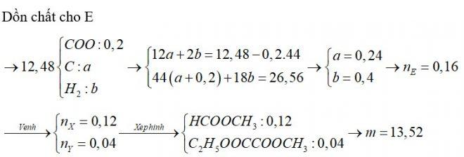 X là este no, đơn chức,; Y là este no, hai chức (X, Y đều mạch hở). Đốt cháy hoàn toàn 12,48 gam hỗn hợp E chứa X, Y bằng oxi vừa đủ