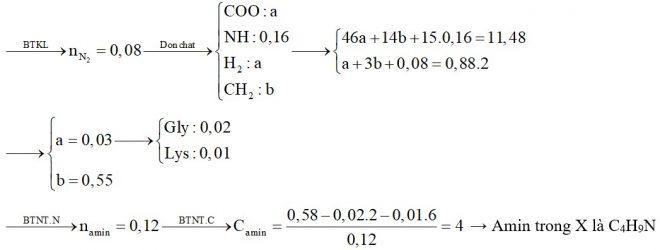 Hỗn hợp X gồm Gly, Lys (tỷ lệ mol 2:1) và một amin đơn chức, hở, có một liên kết đôi C=c trong phân tử. Đốt cháy hoàn toàn 11,48 gam X cần vừa đủ
