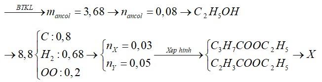 Hỗn hợp E gồm X là este no, đơn chức; Y là este đơn chức, không no chứa một liên kết đôi C=C