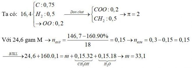 Đốt cháy hoàn toàn 16,4 gam hỗn hợp M gồm hai axit cacboxylic đơn chức X, Y và một este đơn chức Z thu được 0,75 mol CO2