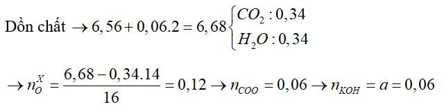 Đốt cháy hoàn toàn 6,56 gam hỗn hợp X chứa bón este đều đơn chức, mạch hở bằng lượng oxi vừa đủ