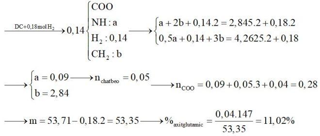 Hỗn hợp X gồm glyxin, alanin và axit glutamic. Hỗn hợp Y gồm tristearin, trilinolein và tripanmitin. Đốt cháy hoàn toàn 0,14 mol hỗn hợp Z gồm