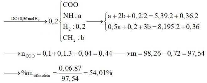 Hỗn hợp X gồm glyxin, alanin và axit glutamic. Hỗn hợp Y gồm tristearin, trilinolein và tripanmitin. Đốt cháy hoàn toàn 0,2 mol hỗn hợp Z gồm