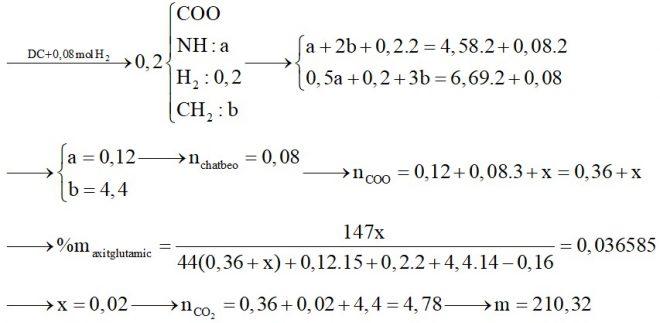 Hỗn hợp X gồm glyxin, alanin và axit glutamic. Hỗn hợp Y gồm ba chất béo. Đốt cháy hoàn toàn 0,2 mol hỗn hợp Z gồm X và Y
