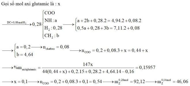 Hỗn hợp X gồm glyxin, alanin và axit glutamic. Hỗn hợp Y gồm ba chất béo. Đốt cháy hoàn toàn 0,28 mol hỗn hợp Z gồm X và Y