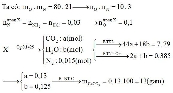 Hỗn hợp X gồm 2 amino axit no (chỉ có nhóm chức –COOH và –NH2 trong phân tử), trong đó tỉ lệ mO : mN = 80 : 21