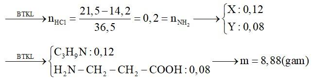 Hỗn hợp E gồm amin X có công thức dạng CnH2n+3N và aminoaxit Y có công thức dạng CnH2n+1O2N (trong đó số mol X gấp 1,5 lần số mol Y)