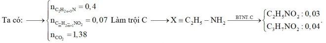 X chứa một amin no đơn chức biết (trong X có C lớn hơn 2), mạch hở. Y chứa hai α-amino axit đồng đẳng kế tiếp thuộc dãy đồng đẳng của glyxin