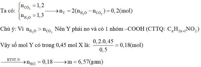 Đốt cháy hoàn toàn 0,5 mol hỗn hợp X gồm một amino axit Y (có một nhóm amino) và một axit cacboxylic no, đơn chức, mạch hở Z