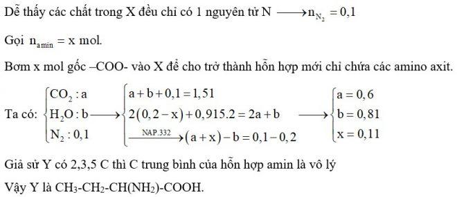 Hỗn hợp X gồm trimetylamin, đimetylamin và một α-aminoaxit Y có dạng H2N-CnH2n-COOH. Đốt cháy hoàn toàn 0,2 mol X cần dùng 0,915 mol O2