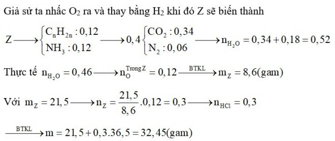 Hỗn hợp X chứa hai amin thuộc dãy đồng đẳng của metylamin. Hỗn hợp Y chứa hai α-amino axit thuộc dãy đồng đẳng của glyxin. Đốt cháy hết 0,12 mol hỗn hợp Z