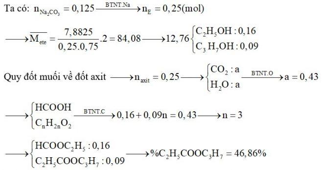 Đun nóng hỗn hợp E chứa hai este X, Y (MX < MY) đều no, đơn chức, mạch hở với dung dịch NaOH vừa đủ, thu được hỗn hợp F chứa 2 ancol đồng đẳng kế tiếp