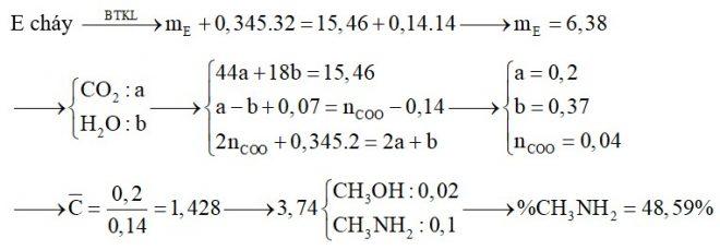 Hỗn hợp E chứa các hợp chất hữu cơ đều mạch hở gồm amin X (CmH2m+3N), amino axit Y (CnH2n+1O2N) và este của Y với ancol no, đơn chức