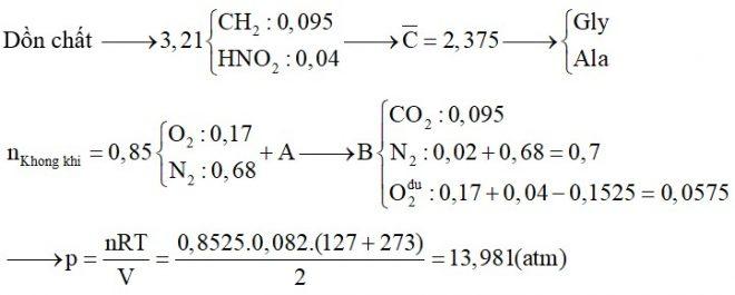 Dùng 19,04 lít không khí ở đktc (O2 chiếm 20% và N2 chiếm 80% thể tích) để đốt cháy hoàn toàn 3,21 gam hỗn hợp A gồm hai aminoaxit
