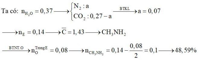 Hỗn hợp E chứa một amin no, đơn chức, mạch hở và hai aminoaxit thuộc dãy đồng đẳng của glyxin. Đốt cháy hoàn toàn 6,38 gam hỗn hợp E